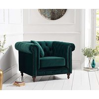 Product photograph showing Milano Chesterfield Green Plush Armchair