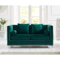 Product photograph showing New York Green Velvet 2 Seater Sofa