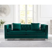 Product photograph showing New York Green Velvet 4 Seater Sofa