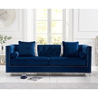 Product photograph showing New York Blue Velvet 4 Seater Sofa