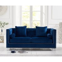 Product photograph showing Ex-display New York Blue Velvet 3 Seater Sofa