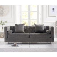 Product photograph showing New York Grey Velvet 4 Seater Sofa