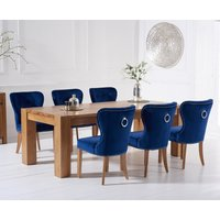 Thames 220cm Oak Dining Table with Knightsbridge Velvet Chairs