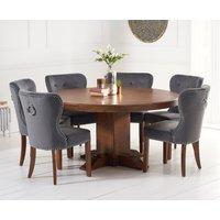 Torino 150cm Dark Solid Oak Round Pedestal Dining Table with Knightsbridge Velvet Chairs - Grey, 4 Chairs