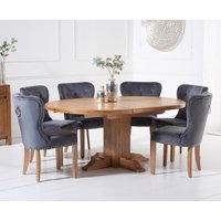 Torino Solid Oak Extending Pedestal Dining Table with Knightsbridge Velvet Chairs