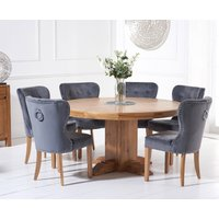 Torino 150cm Solid Oak Round Pedestal Dining Table with Knightsbridge Velvet Chairs - Grey, 4 Chairs
