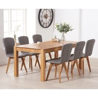 Verona 150cm Oak Table With Tivoli Faux Leather Chairs - Grey, 4 Chairs