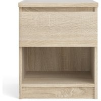 Product photograph showing Naya 1 Drawer 1 Shelf Bedside Table In Oak