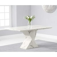 Product photograph showing Ex-display Aaron 160cm Marble White Dining Table