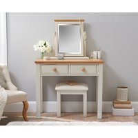 Product photograph showing Abel Oak And Stone Painted Dressing Table
