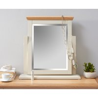 Product photograph showing Abel Oak And Stone Painted Trinket Mirror