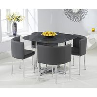 Product photograph showing Ex-display Algarve Grey Glass Stowaway Dining Table With Four Grey High Back Stools