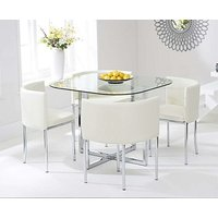 Product photograph showing Ex-display Algarve Glass Stowaway Dining Table With Cream High Back Stools