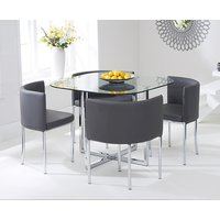 Algarve Glass Stowaway Dining Table with Grey High Back Stools - Grey, 4 Chairs
