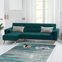 Ana Green Velvet 3 Seater Corner Sofa Bed with Left Facing Chaise