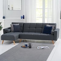 Ana Grey Linen 3 Seater Corner Sofa Bed with Left Facing Chaise