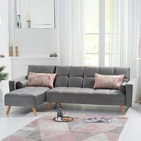Ana Grey Velvet 3 Seater Corner Sofa Bed with Left Facing Chaise