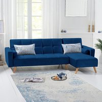 Ana Blue Velvet 3 Seater Corner Sofa Bed with Right Facing Chaise