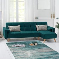 Ana Green Velvet 3 Seater Corner Sofa Bed with Right Facing Chaise