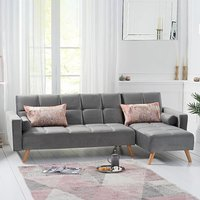 Ana Grey Velvet 3 Seater Corner Sofa Bed with Right Facing Chaise