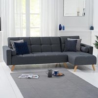 Ana Grey Linen 3 Seater Corner Sofa Bed with Right Facing Chaise