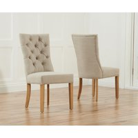 Product photograph showing Anais Beige Fabric Oak Leg Dining Chairs - Beige 2 Chairs