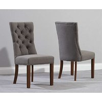 Product photograph showing Ex-display Set Of 2 Anais Grey Fabric Dark Oak Leg Dining Chairs