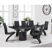 Antonio 180cm Black Marble Dining Table With Hampstead Z Chairs - Black, 4 Chairs