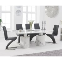 Antonio 180cm White Marble Dining Table With Hampstead Z Chairs - Ivory, 4 Chairs