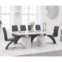 Antonio 220cm White Marble Dining Table with Hampstead Z Chairs - Black, 6 Chairs
