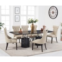 Antonio 220cm Black Marble Dining Table with Freya Chairs - Cream, 6 Chairs