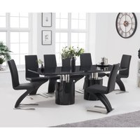 Antonio 220cm Black Marble Dining Table with Hampstead Z Chairs - Ivory, 6 Chairs