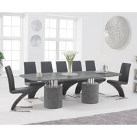 Antonio 260cm Grey Marble Dining Table with Hampstead Z Chairs - Ivory, 6 Chairs