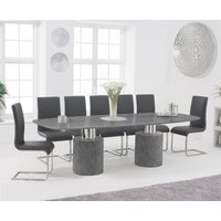 Antonio 260cm Grey Marble Dining Table with Malaga Chairs - Grey, 6 Chairs