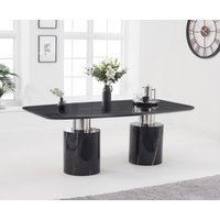 Product photograph showing Antonio 180cm Black Marble Dining Table