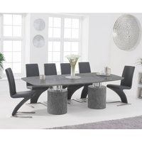 Antonio 220cm Grey Marble Dining Table with Hampstead Z Chairs - Black, 6 Chairs
