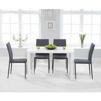 Read more about Atlanta 120cm white high gloss dining table with atlanta stackable chairs - grey- 4 chairs
