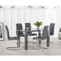 Atlanta 120cm Dark Grey High Gloss Dining Table with Tarin Chairs