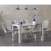 Read more about Atlanta 120cm light grey high gloss dining table with celine chrome leg chairs