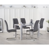 Read more about Atlanta 120cm light grey high gloss dining table with lorin chairs
