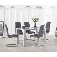 Read more about Atlanta 120cm light grey high gloss dining table with tarin chairs