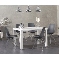 Read more about Atlanta 120cm white high gloss dining table with celine chrome leg chairs