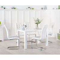 Read more about Atlanta 120cm white high gloss dining table with lorin chairs