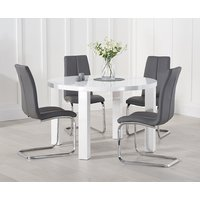 Atlanta 120cm White High Gloss Round Dining Table with Tarin Chairs