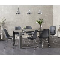 Read more about Atlanta 160cm dark grey high gloss dining table with celine chrome leg chairs