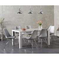 Read more about Atlanta 160cm light grey high gloss dining table with celine chrome leg chairs