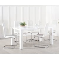 Atlanta 160cm White High Gloss Dining Table with Tarin Chairs