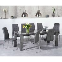 Product photograph showing Ex-display Atlanta 200cm Dark Grey High Gloss Dining Table With 4 Grey Calgary Chairs