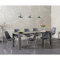 Atlanta 200cm Dark Grey High Gloss Dining Table with Celine Faux Leather Chrome Leg Chairs - Light Grey, 6 Chairs