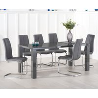 Read more about Atlanta 200cm dark grey high gloss dining table with tarin chairs